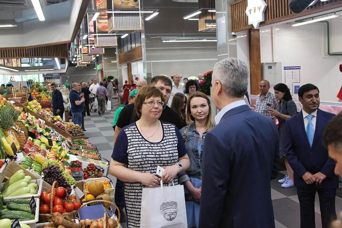 Мэр Москвы Сергей Собянин посетил Велозаводский рынок
